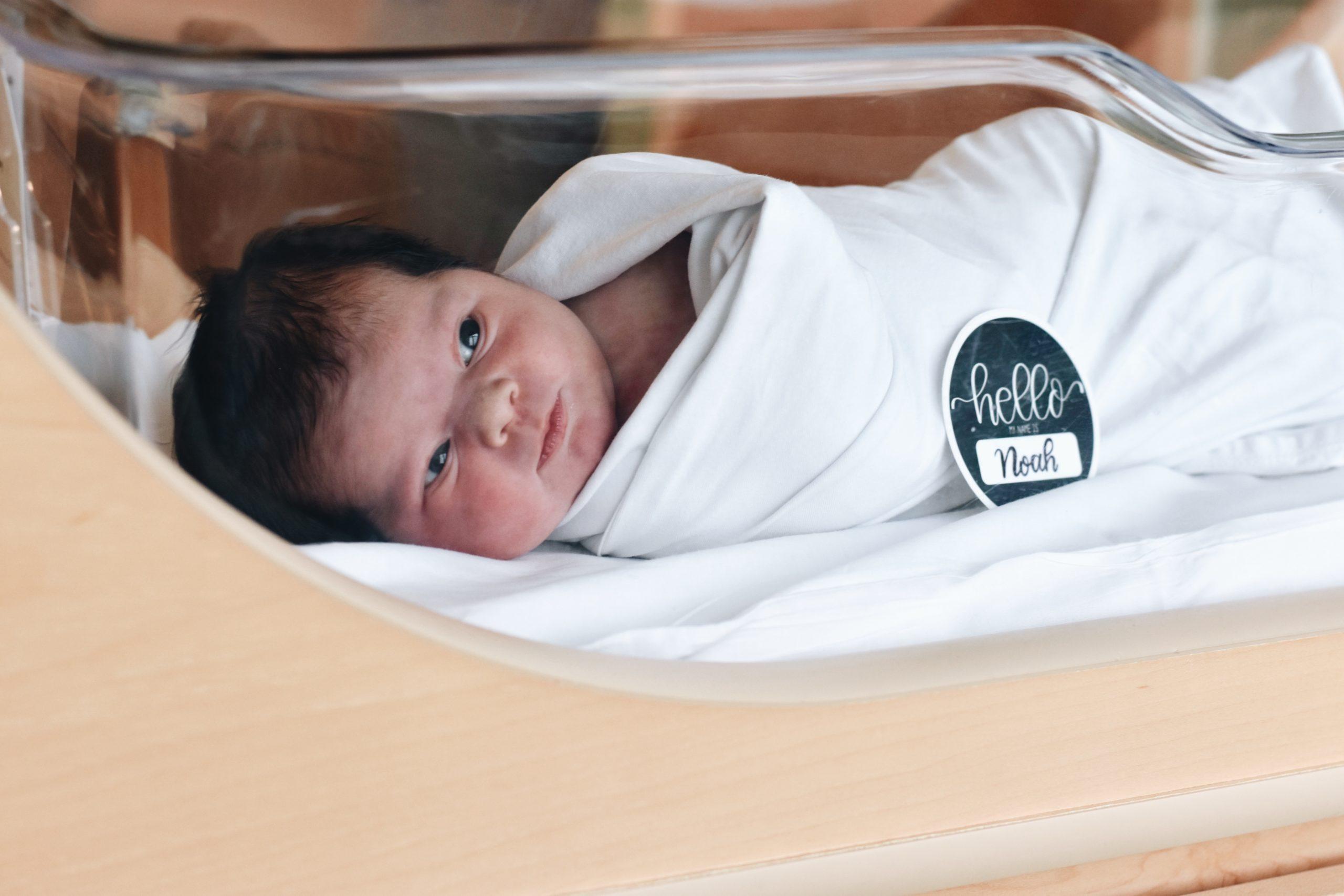 Newborn baby in isolet